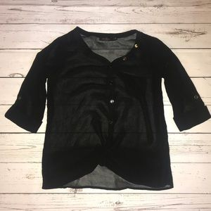 The Limited Sheer Black Twist Button Down Top S